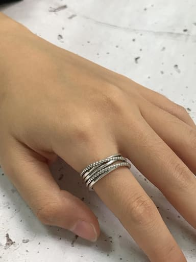 Vintage Sterling Silver With Platinum Plated Simplistic Simple Old Twist  Stacking Rings