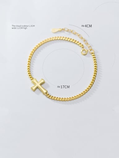 925 Sterling Silver With Gold Plated Fashion Cross Bracelets
