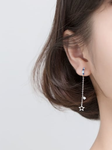 925 Sterling Silver With Platinum Plated Fashion Hollow Star Ear Clip