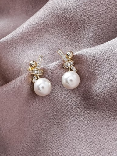 Alloy With Gold Plated Classic Small Pearl Knot Drop Earrings