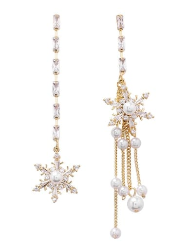 Alloy With Gold Plated Fashion Snowflake Tassel  Earrings