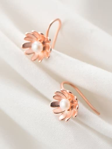 925 Sterling Silver With Rose Gold Plated Fashion Flower Hook Earrings