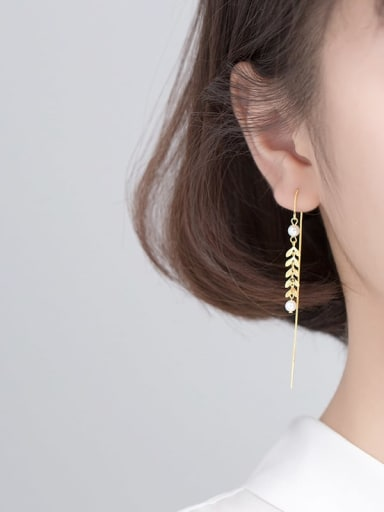 925 Sterling Silver With Gold Plated Fashion Leaf Threader Earrings