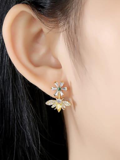 Copper With Gun Plated Cute Bee Pendant Drop Earrings