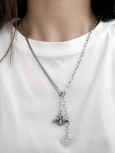 Vintage  Sterling Silver With  Fashion Hollow Chain  Little bee  power Necklaces