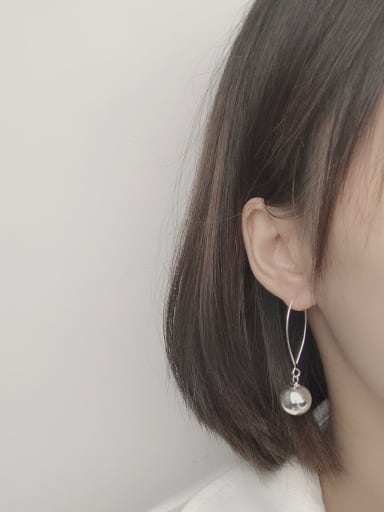 925 Sterling Silver With Platinum Plated Simplistic Round Hook Earrings