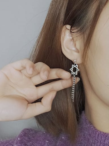 Vintage Sterling Silver With Simplistic Hollow Pentagram Tassel  Earrings