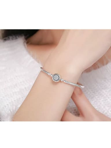 925 Silver Cubic Zirconia Chain Bracelet