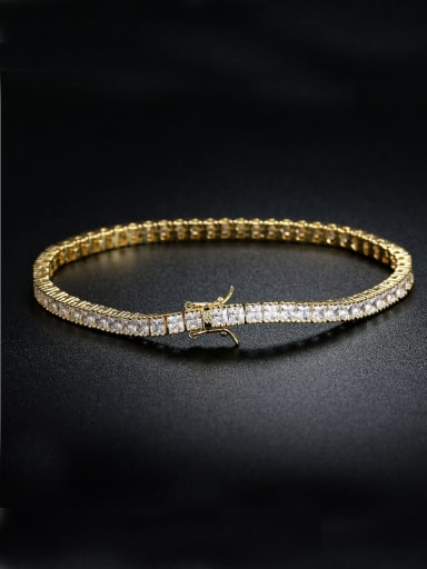 AAA+Cubic Zircon 3.0mm,Square,White,Tennis bracelets ,18k-Gold plated