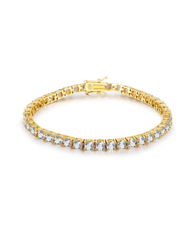 AAA+Cubic Zircon 5.0mm,White,Tennis Bracelet,Four-claw inlay