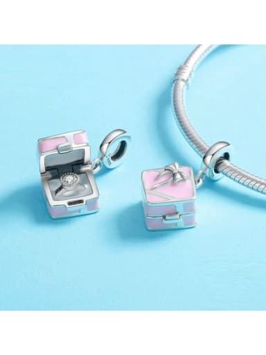 925 silver cute gift box charm