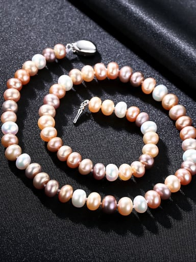 925 Sterling Silver With Freshwater Pearl Oval Beaded Necklaces