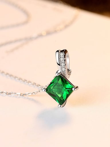 925 Sterling Silver With Cubic Zirconia Delicate Square Necklaces