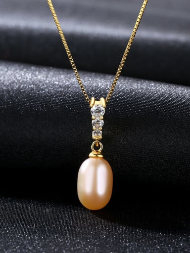 925 Sterling Silver With Freshwater Pearl Oval Necklaces