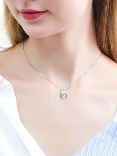 925 Sterling Silver With Platinum Plated Classic Crown Dancing stone Necklaces
