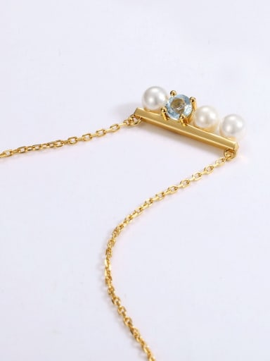 925 Sterling Silver With Gold Plated Delicate Topaz+Artificial pearl Necklaces