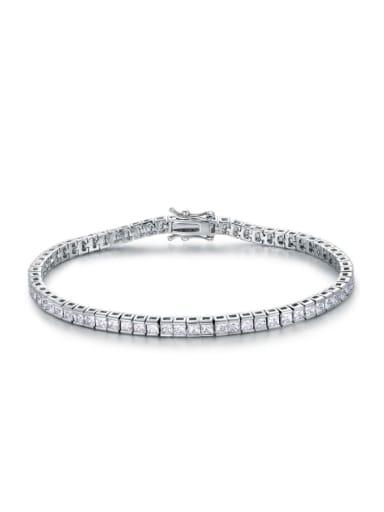 AAA+Cubic Zircon 4.0mm,Square,colour,Tennis bracelets ,Platinum-plated