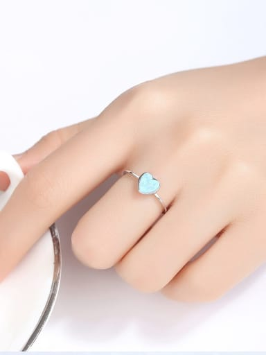 925 Sterling Silver With Opal Delicate Heart Solitaire Ring