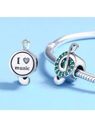 925 silver cute music symbol charm