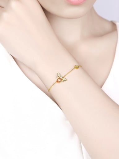 925 Sterling Silver With 6*4mm Citrine Cute Bee Bracelets
