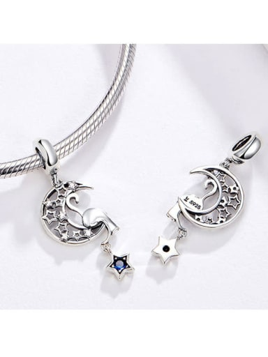 925 silver stars and moon charm