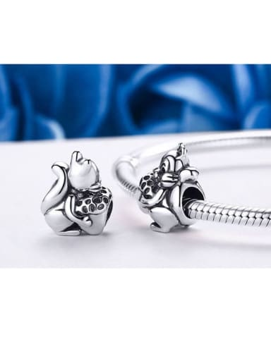 925 silver cute squirrel charm