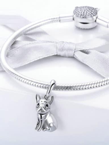 925 Silver Cute Bulldog charm