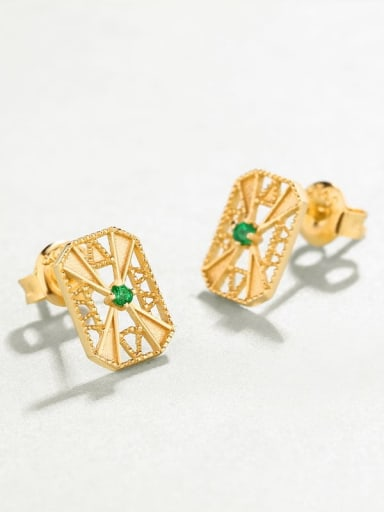 925 Sterling Silver With Gold Plated Vintage Square Cubic Zirconia Stud Earring
