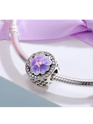 925 silver cute flower charm