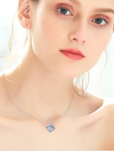 925 Sterling Silver , Swarovski Crystallized Elements geometry ,Dancing stone Necklaces