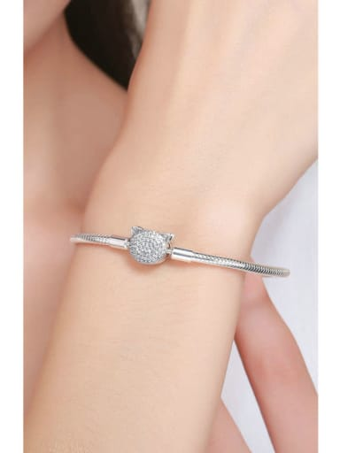 925 silver cute cat Chain Bracelet