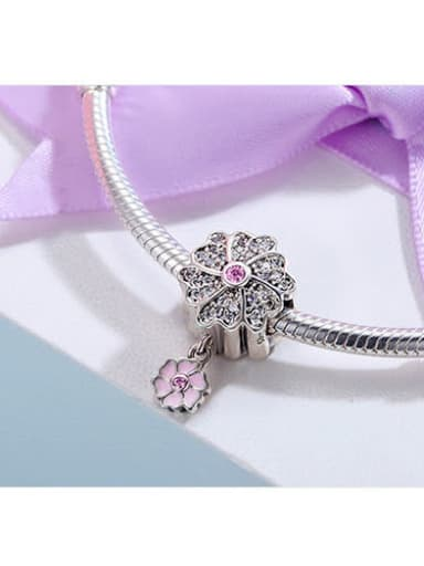 925 silver romantic flower charm