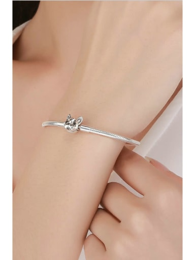 925 Silver Cute Dog Element Basic Bracelet