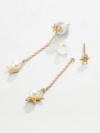 925 Sterling Silver With Freshwater Pearl Sweet Star Stud Earring