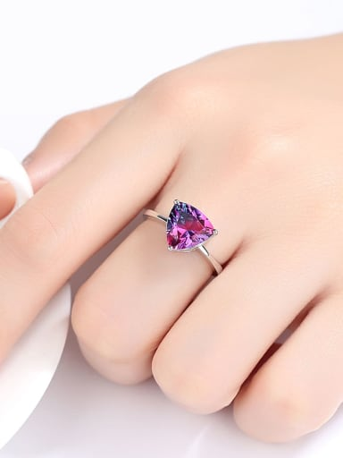 925 Sterling Silver With Mystic Topaz Triangle Ring