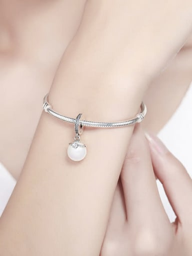925 silver faux pearl charm
