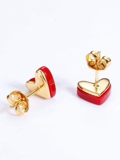925 Silver Classic red Heart Stud Earring