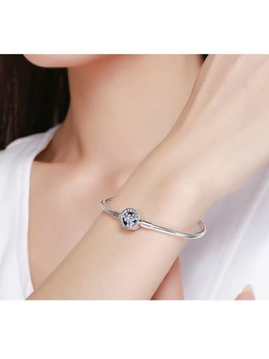 925 silver cute flower Chain Bracelet