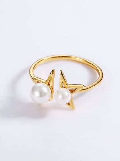 925 Sterling Silver With Freshwater Pearl Sweet Star Ring
