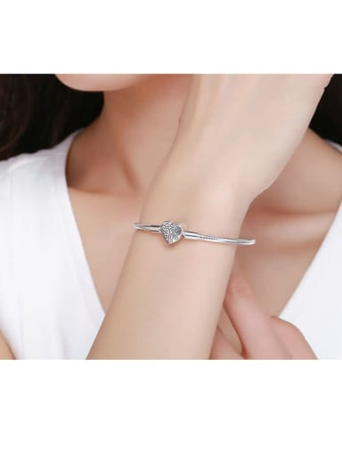925 silver cute heart Chain Bracelet