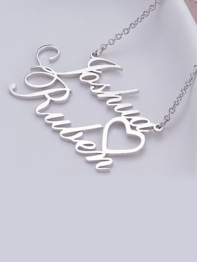 Personalized Double Names Necklace with a Cut Out Heart