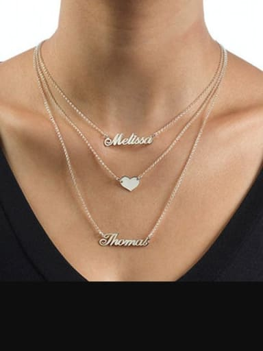Three Layers Personalized Heart Name Necklace Silver