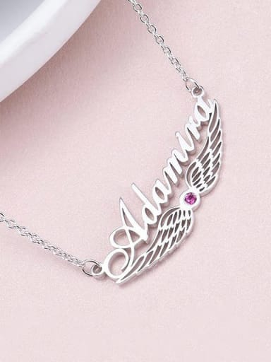 Custom Angel Wing Name Necklace with birthstone