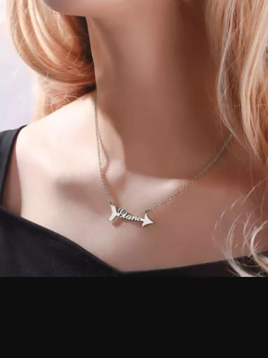 Personalized 925 Silver Arrow Name Necklace