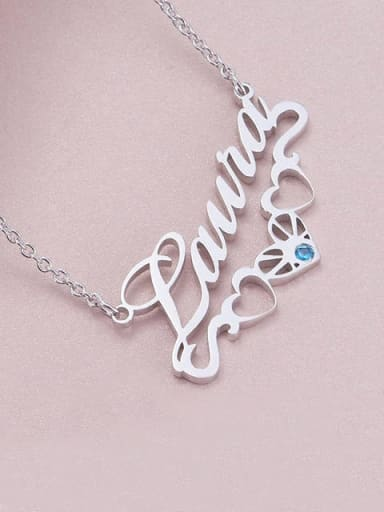 Custom birthstone Name Necklace with Underline Hearts Silver