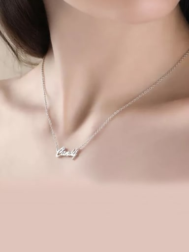Customized Personalized CZ Name Necklace Silver