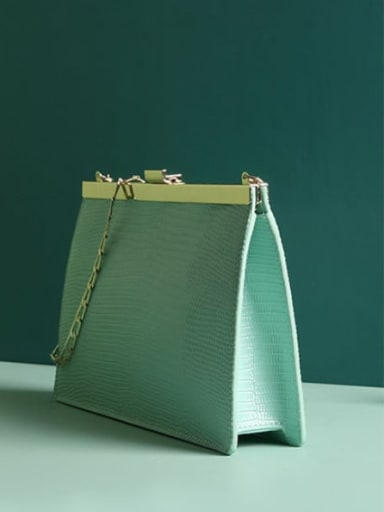 Split Leather-Chain envelope bag