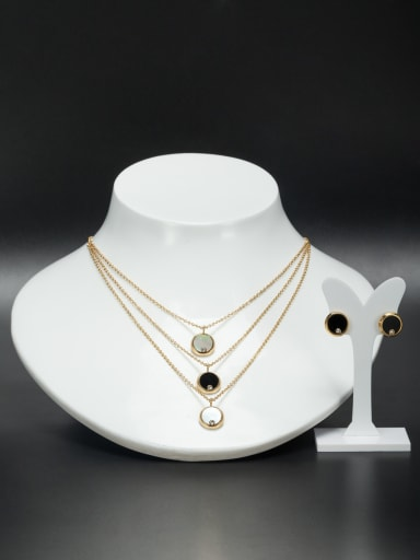 Stainless steel Round Gold Rhinestone Beautiful 2 Pieces Set