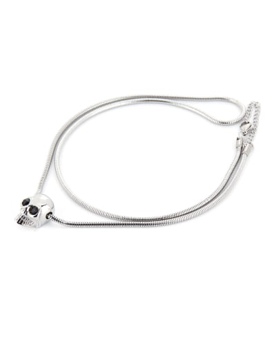 Rust color Silver-Plated Titanium Skull necklace
