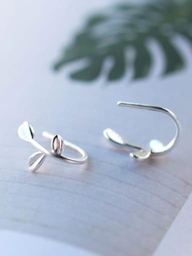 S925 Silver  Leaf Stud cuff earring